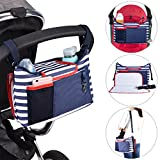 Kinderwagen Organizer Universale Kinderwagentasche Aufbewahrungstasche Multifunktionale Tasche Buggy mit viel Stauraum und Flaschenhaltern Schultergurt
