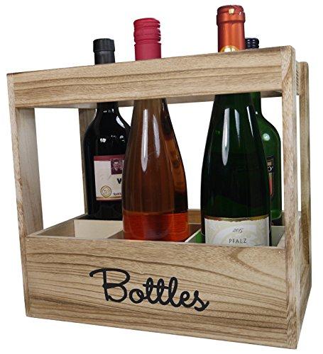 khevga cajón-estantería para 6botellas de vino–Botella caja de madera