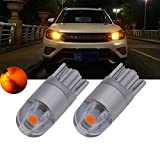 TUINCYN T10 W5W 3030 2SMD Amber LED Bulb Auto Interior Replacement Light Festoon Dome Light 360 Lumens License Plate Lights Car Reverse Parking Lamp Side Markers Bulb (Pack of 2)