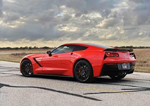"Classic und Muscle Car-Anzeigen und Auto Art Chevrolet Hennessey Corvette Stingray hpe700 Twin Turbo (2014) Auto Art Poster Kunstdruck auf 10 mil Archivierung Satin Papier, Rot hinten Seite abgestellt View, Papier, Red Rear Side Parked View, 17"" x 11"""
