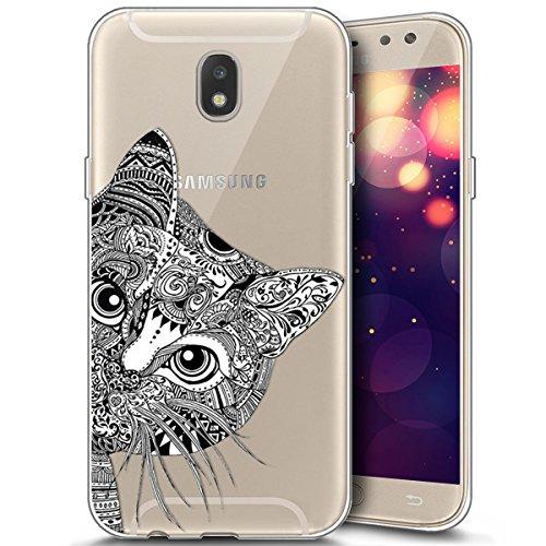 Surakey Samsung Galaxy J7 2017 Cover, Custodia Silicone Trasparente Disegni Cartone Animato Antigraffio Soft Touch Protettiva Skin Ultra Sottile Morbida Cover per Galaxy J7 2017,Gatto
