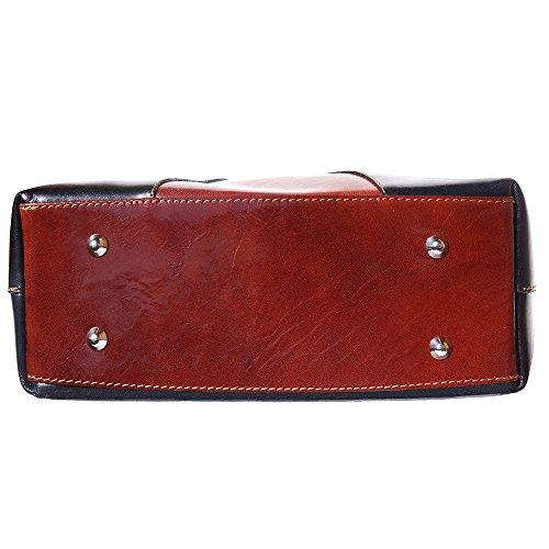Handtasche und Schultertasche mit Doppelgriff 205 Schwarz-Braun