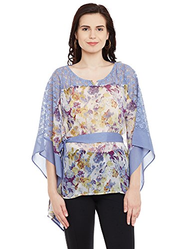 The Vanca Women's Printed chiffon kaftan top with lace insert