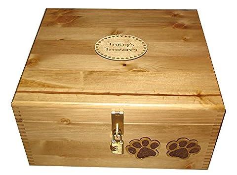 Grand personnalisée en bois de pin rustique à charnière pour chien-Boîte de rangement avec verrou et plaque gravée en bois