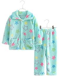 Blue Bow Flannel Niños pijama traje de baño suave Velvet Sleepwear Nightcloth