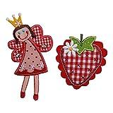 TrickyBoo Fee Sophie 11X7Cm Erdbeere 7X7Cm Aufbügler Aufnäher Bügelbild Bügelmotiv Stoff Kleid Patch Applikation Aufbügeln Personalisieren Kind