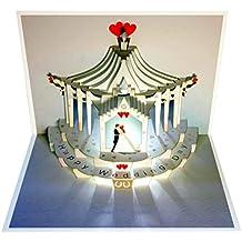 Forever Handmade Pop Up Karte zur Hochzeit - edel und elegant mit verblüffender Wirkung beim Öffnen, da im Lasercut-Verfahren aus einem Blatt hochwertigen Kartons hergestellt. Designed und produziert von Ge Feng im walisischen Ross-on-Wye. GP100