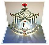 Pop Up 3D Karte Hochzeit Grusskarte Geburtstag Gutschein Zelt Hochzeitstag 16x11cm