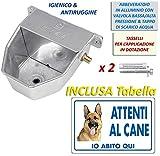 Motisi Zootecnici Abbeveratoio per Cani Automatico in Alluminio con Tappo di Scarico e Raccordo in Ottone e tasselli in Dotazione per Il Fissaggio al Muro + Cartello