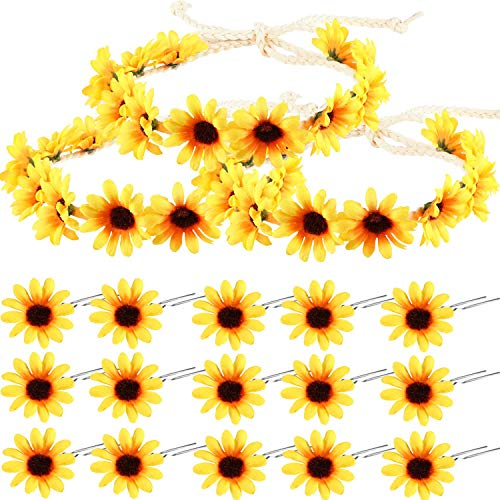 Tclothing 18 pieces sunflower hair accessories yellow flowers headband set, including 3 pieces sunflowers headband wreath, 15 pieces sunflower hair pins for girls daily wear (Yellow Flower Hair Pin)