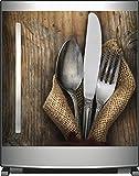 Wallario Sticker / Aufkleber für Kühlschrank / Geschirrspüler / Küchenschränke, selbstklebende Folie - 60 x 60 cm, Motiv: Besteck Set