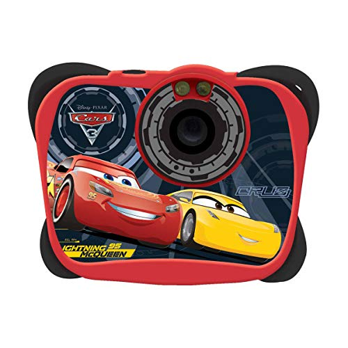 Lexibook dj134dc - fotocamera digitale 5mp disney cars con flash, design lightning mcqueen, schermo lcd, memoria 100 immagini, rosso/nero
