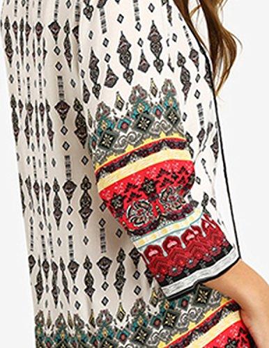 Modetrend Femmes Mini Robe Vintage Floral Imprimé Col V Casual Débardeur Slim 3/4 Manche Bohémien Robe Fleur