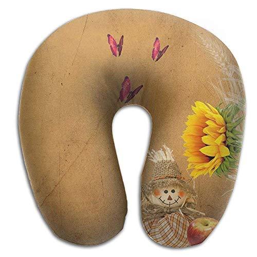 jinhua19 Nackenhörnchen Travel Pillow Sunflower Butterfly Memory Foam Neck Pillow Comfortable U Shaped Neck Support Plane Pillow Seitenschläferkissen Conran White