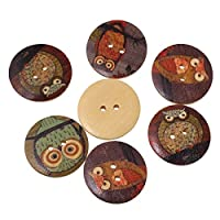 Fulla2116 2 Hole Wooden Button for DIY Sewing Scrapbook Accessories (Owl Cartoon Pattern)