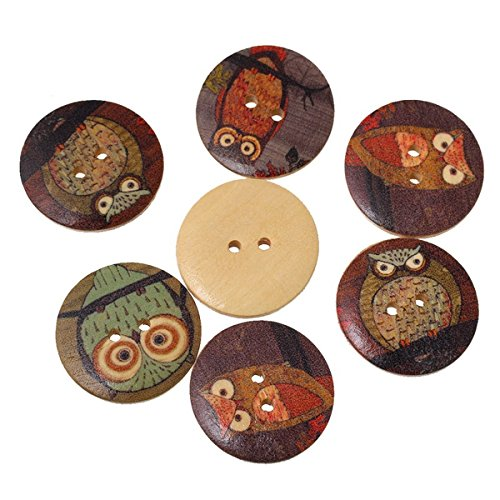 EWFSEF Wooden Buttons for DIY Sewing Scrapbook Accessories (Owl Cartoon Pattern)