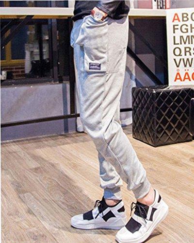 Minetom Hommes Désinvolte Danse Pantalon Hiphop Baggy Sport Jogging Sarouel Pants Gris