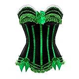 Kranchungel Damen Burlesque Vollbrust Satin Korsett Dessous Corsage Gothic Kostüme Medium Grün