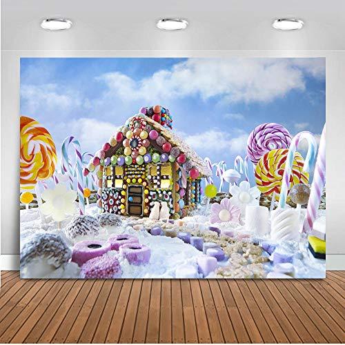 Backx 7x5ft Weihnachten Lebkuchenhaus Alles Gute zum Geburtstag Foto Kulissen Kinder Geburtstag Party Fotografie Hintergrund ()