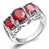 YLR rojo chapado en oro blanco Joyas tres niñas Oval mosaico piedra Zirconia cúbico anillo de las mujeres