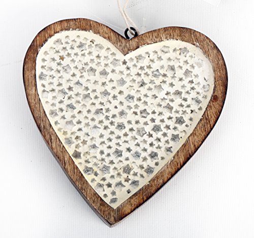 Mosaic Mirror Star Hanging Wooden Heart Decoration