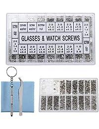 9e904e5fac56fe Womdee Kit de réparation de Lunettes, 1000 pièces vis, écrous, rondelles  avec Pince