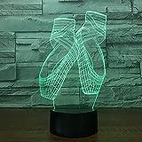 BFMBCHDJ Scarpe da balletto Modello 3D USB Visione Luci notturne Lampada da tavolo a LED Lamparas 7 colori modificabili Illuminazione per dormire per regalo ragazza