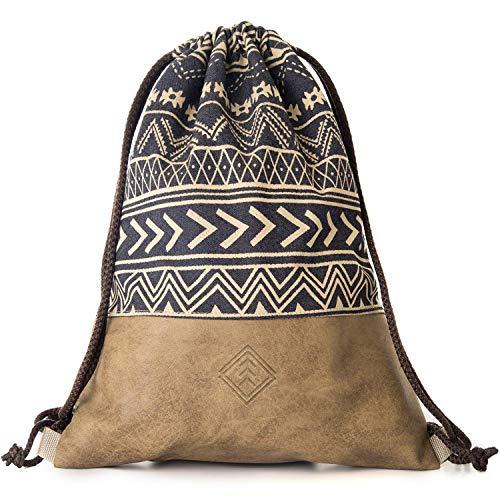 MONi Turnbeutel Gymbag im Ethnic Design, Blau/Braun