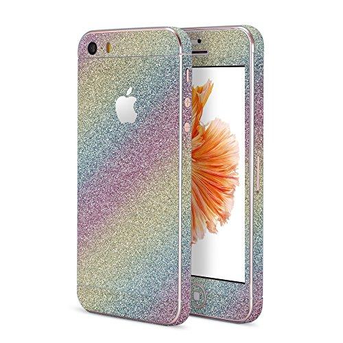 OKCS®Premium Glamoures Sticker für das Apple iPhone 5, 5s, 5c Skin Glitzerfolie Protector Folie Schutzfolie Slim Sticker Film Fancy Rainbow