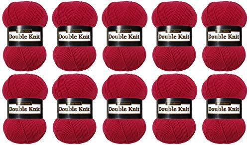 Marriner Double Knit 100g | DK Knitting/Crochet Yarn | 100% Acrylic (Berry, 10 Ball Pack)