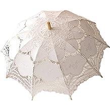Sombrilla/Paraguas de encaje, blanca, estilo victoriano, accesorio o decoración para boda