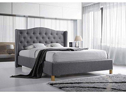 Jadella Bett 'Aspen' Stoffbezug Grau Doppelbett 160x200cm