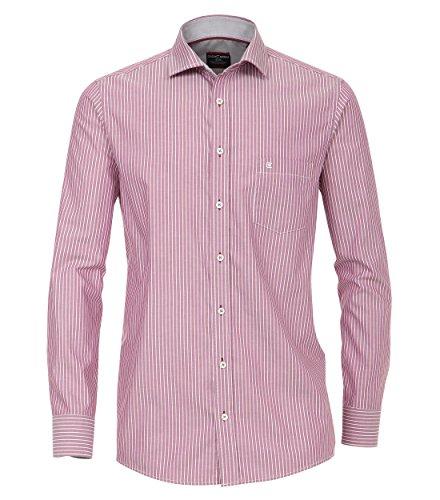 Casa Moda - Comfort Fit - Herren Streifen Oxford Hemd mit Kent-Kragen (472646500), Größe:M;Farbe:Rot (400) (Oxford-hemd Gestreiftes Blau)