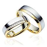 2 x 333 Gold Eheringe Partnerringe Trauringe Hochzeitsringe in Gelbgold und Weißgold *mit Gravur und Swarovski* C027
