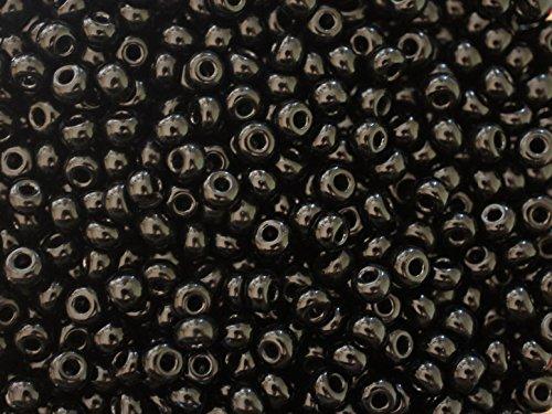 20 Gramm (ca. 260 Stück) Tschechische Glas Rocailles Preciosa, Größe 6/0 (3,7mm - 4,3mm), Rundloch, Farbe: Jet Black -