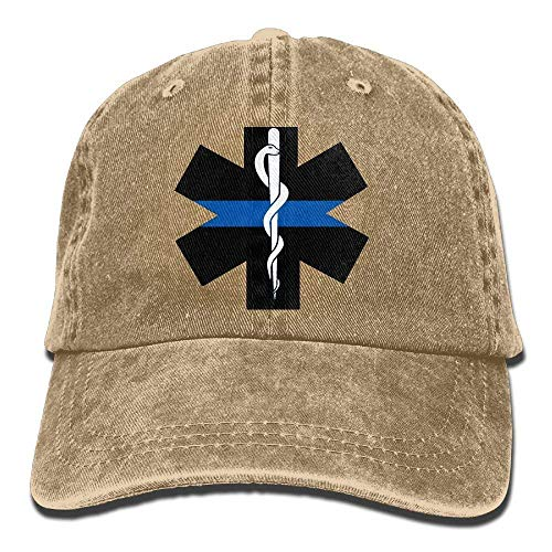 Okhagf Thin Blue Line Star of Life Dad Hat Adjustable Denim Hat Classic Baseball Cap -