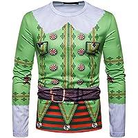 Longra ☂☂ ☂☂ ¡¡¡Feliz Navidad!!! Traje de Navidad de los Hombres Santa Print Holiday Humor Camiseta de Manga Larga Xmas Top Personalizado para Usted