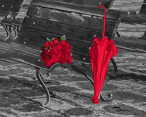 wowdecor Malen nach Zahlen Kits für Erwachsene Kinder, Anzahl Malerei–rote Rosen Regenschirm Stuhl 40,6x 50,8cm Framed