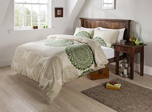 Olivia Rocco Bettbezug-Set, Designer, Steppdecke, Persisch-Grün, 50 % Baumwolle / 50 % Polyester, grün, King Size Olivia Designer