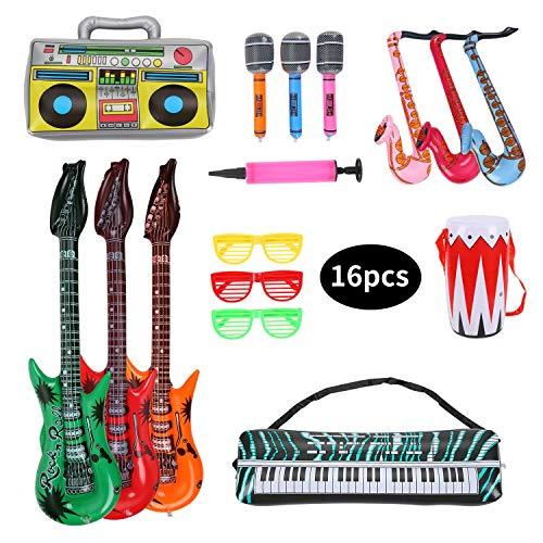 Herefun Inflables de Juguete, 16 Pcs Inflable Rock Guitarra Micrófono Saxofón Tambor Música Prop, Musicales Accesorios para Artículos de Fiesta Globos Color Al Azar