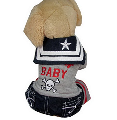 ranphy Kleiner Hund/Katze Stickerei Shirt Sailor Halsband Denim Pants Outfits Haustier Kleidung Stecker grau S (Stickerei Square Neck)