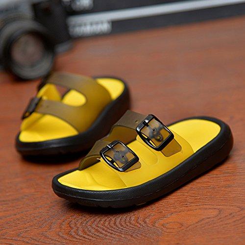 sandales pour hommes, mots antidérapants, pantoufles, tongs en plein air, des trous d'été, chaussures de plage Black and yellow