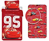 LesAccessoires Disney Cars Completo Lenzuola 3Pezzi 100% Cotone-Copripiumino + Federa + Lenzuolo con Angoli