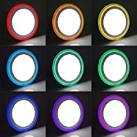 18w Round LED Ceiling Mood Light Panel Cool White with 6w RGB Colour Changing Ambient Ring Remote Controlled by Long Life Lamp Company