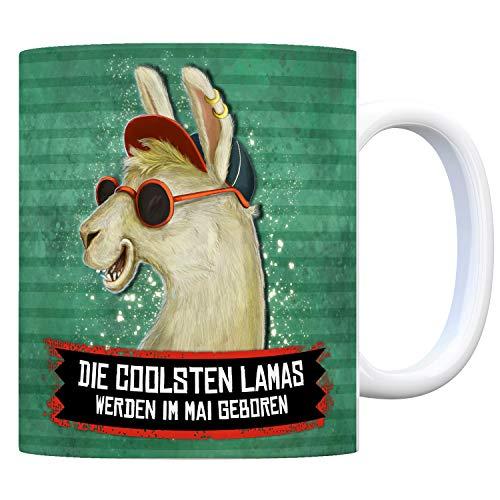 trendaffe - Kaffeebecher mit Spruch: Die coolsten Lamas Werden im Mai geboren