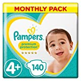Pampers Premium Protection Size 4+, 140 Nappies, 10-15 kg, Monthly Pack