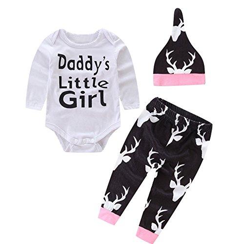 Le SSara Neonato bambino piccolo body di cotone ragazza con pantaloni & cappello (18-14 (Piccolo Elk)