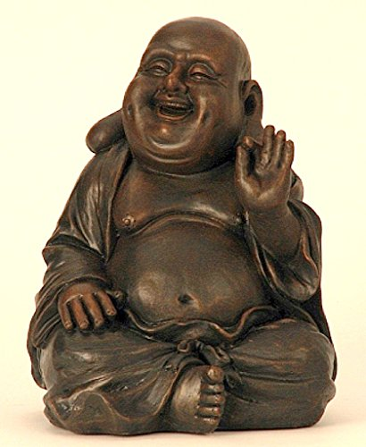 Große Buddha Figur lacht sitzend 31cm dunkelbraun Feng Shui Buddhismus Asia Deko