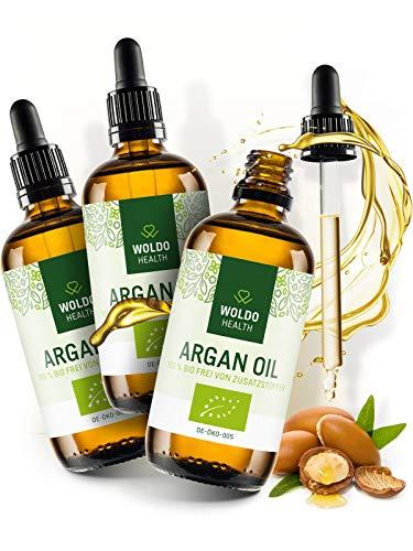 Bio Arganöl kaltgepresst biologisches Serum - 3x 100ml für Gesicht Haut Haare, 100% aus Marokko Gesichtspflege & Körper Öl