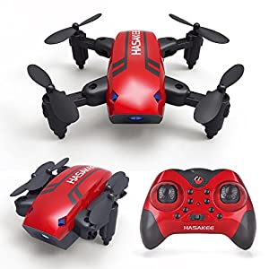 Foldable RC Mini Drone with Altitude Hold,One-Button Take off/Landing,2.4GHz 6-Axis Gyro Pocket Quadcopter with One-Button 360° Flip,One-Button Speeds Swith from Hasakee